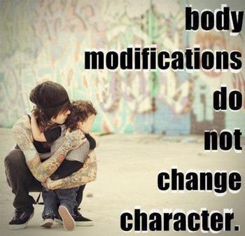 ABSOLUTELY love this! for all you old fashioned people who think tattoos and piercings make you less
