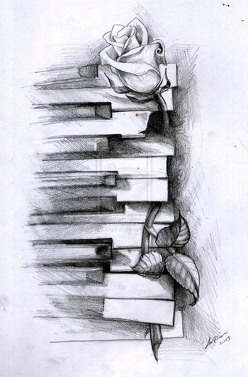 Old piano and a rose by ArtOfAsthar on deviantART