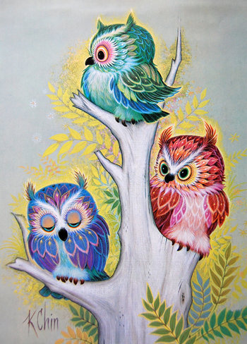 K Chin Three OWLS Art Print Poster Litho USA by VintagePaperology, $15.00