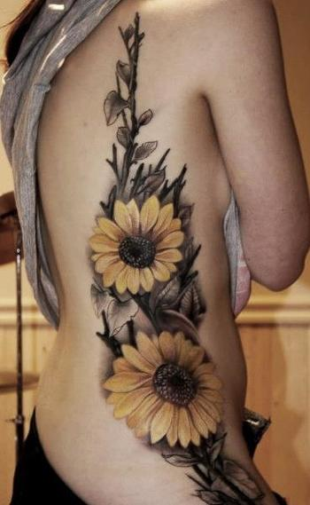 Stunning Sunflower Tattoos symbolize Happiness