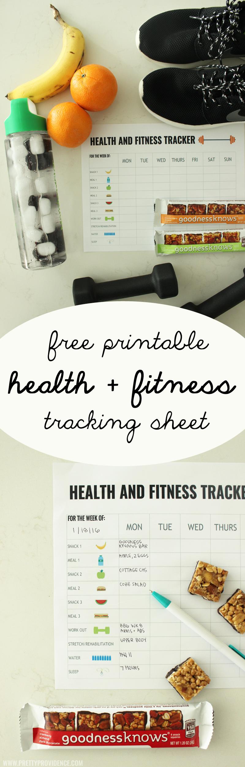 Free printable health and fitness tracker pretty providence original