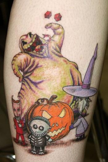 Nightmare Before Christmas, Oggy Boogy, Lock, Shock, and Barrel in Tattoos by
