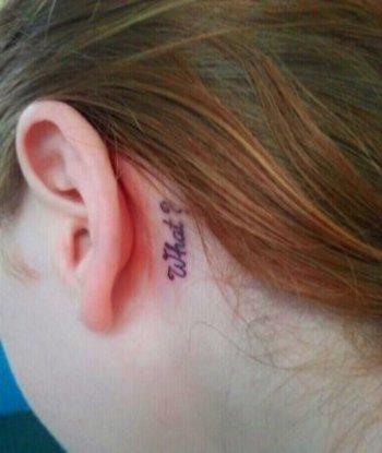 "Photo Caption: ""My tiny tattoo(: Im deaf in my left ear so it was only right to get it!"" I'm deaf in"
