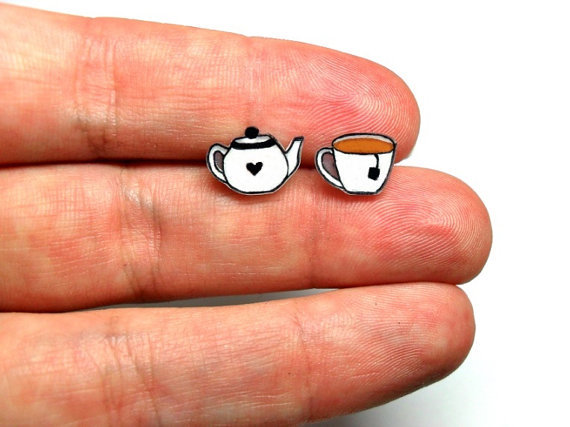 Lil teapot teacup post earrings i feel like these would be pretty simple to make with shrinky di original