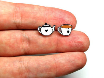 Lil' Teapot & Teacup, Post Earrings. I feel like these would be pretty simple to make with shrinky di