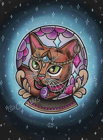 This is a print of my painting of a Mystical Fortune Teller Kitty. The print is A4 (11.7 x 8.3) in si
