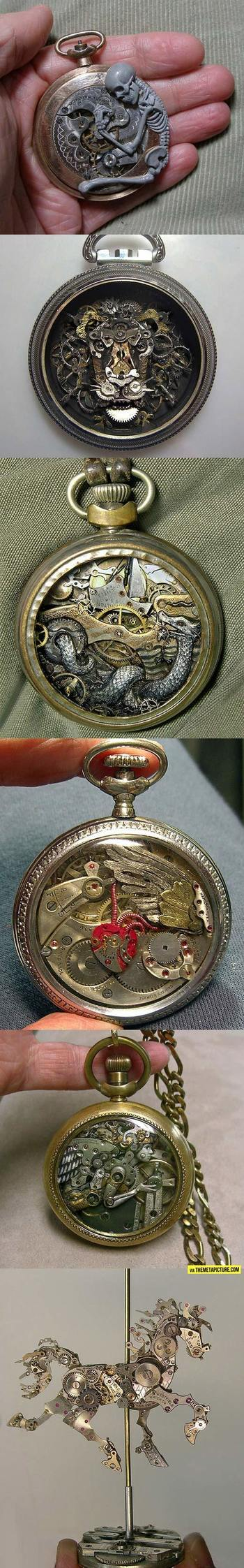 Sculptures from old watch parts…