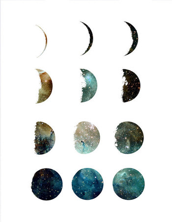 Galaxy moon phase  wall art print, home wall decor, apartment wall art, modern print, nebula print, moon poster, minimal, gift