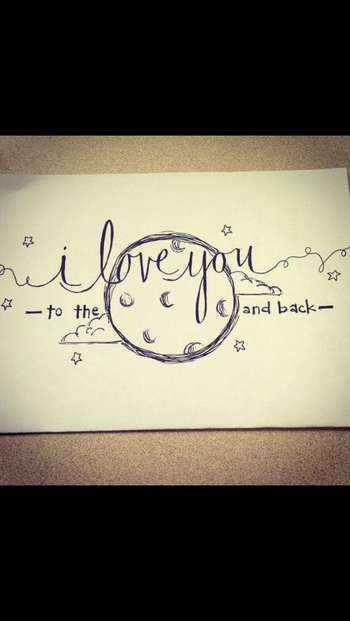 I love you to the moon and back drawing
