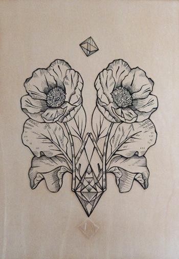 Punctured artefact. Little leather veneer. Geometric poppy flower