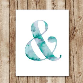 watercolor ampersand printable, ampersand watercolor download, ampersand digital print, ampersand wal