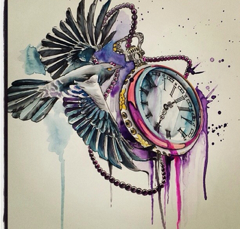 Swallow and pocket watch