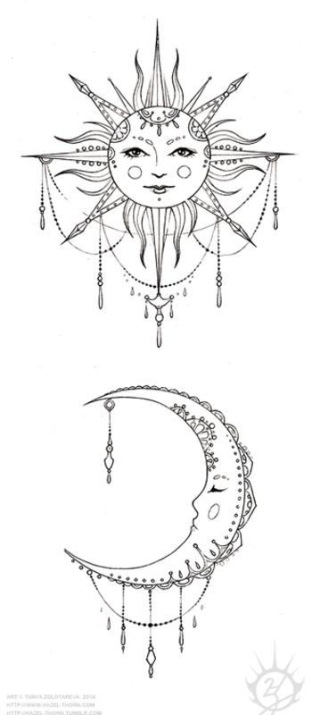 hazel-thorn // Bohemian Sun and Moon, tattoo design (inked)