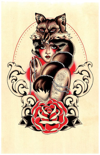 9X14 Tattoo Inspired Foxy Tattooed Vixen by whimfactory on Etsy, $17.00