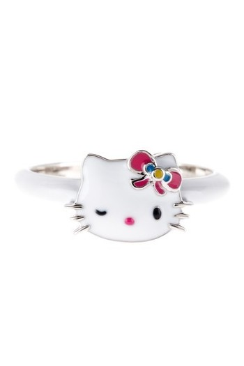{Hello Kitty Sterling Silver Enamel Band Ring}