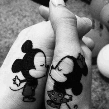 disney tattoo-so adorable I would never get this, but it's so cute + Kissing + Mickey Mouse + Minnie