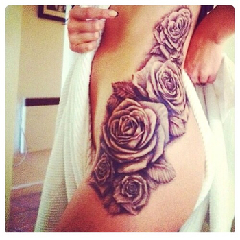 Rose hip tattoo This will be the one working from my lower back down my thigh into either the side wi
