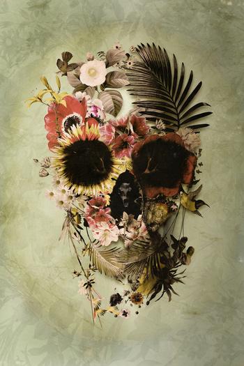 Garden Skull Light Art Print by Ali GULEC | Society6