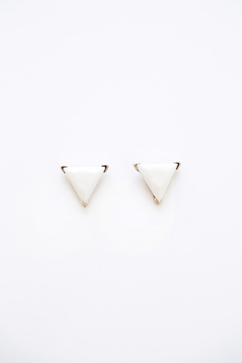 Serena cream triangle earrings original