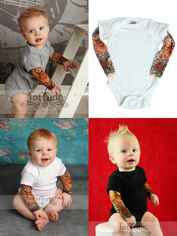 Rockabilly Tattoo Onesie - Long Sleeve Tattoo Shirt - Rockabilly Shirt - Baby skull shirt - Punk Baby Clothes - Punk Rock Baby