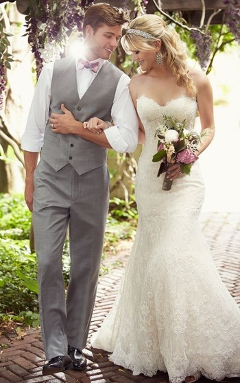 Modified A-Line Lace Wedding Dress with Sweetheart Neckline from Essense of Australia - Style D1758 #weddingdresses