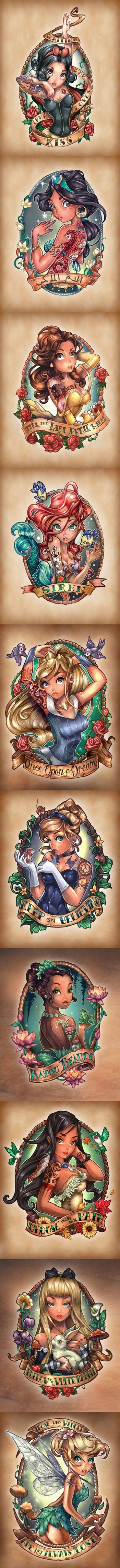8 Disney Princesses as Tattooed Pinup Girls! ( Alice and Tinkerbell)