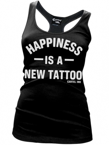 "Women's ""Happiness is a New Tattoo"" Racerback Tank by Cartel Ink (Black)"