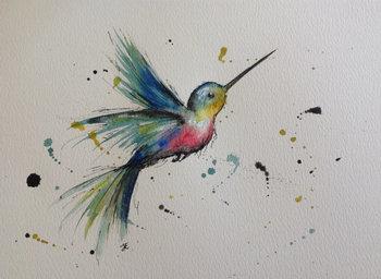 Hummingbird mixed media painting