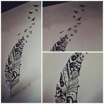 aztec / feather / birds tattoo design <3 I don't think I would get this because it is so big but it i