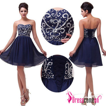 Elegant Navy Blue Cocktail Dress Short Evening Gowns Homecoming Dresses Beaded Party Sweet 16 Dress from Dresscomeon