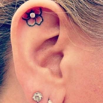 Flower Earring Tattoo