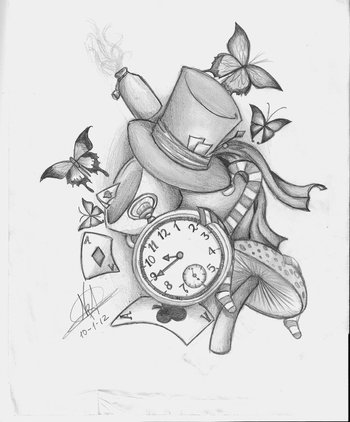 Alice in wonderland desing tattoo by ~Nem-Metalhead on deviantART