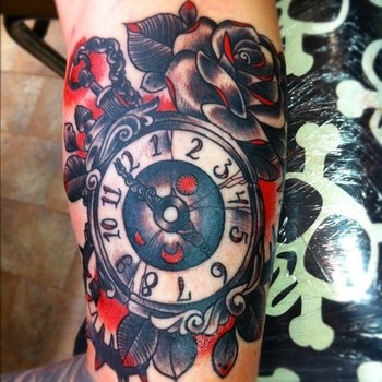 pocketwatch tattoos   tattoo # pocket watch # rose tattoo # rose