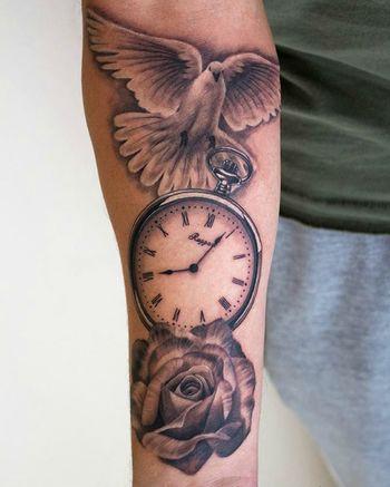 Rose - Pocket watch - Dove #tattoo