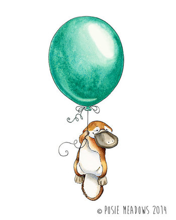 Platypus Goes Adventuring - Platypus Watercolor Giclee Print, Original Artwork, Children's illustrati
