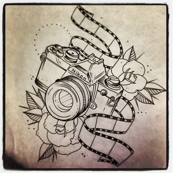 Roses And Nikon Camera Tattoo Print | Tattooshunt.com