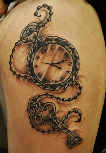 50 Popular Pocket Watch Tattoo Designs & Meanings [2016]