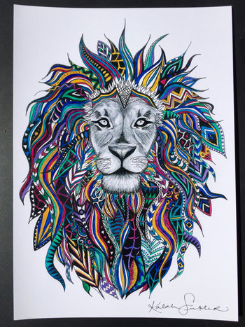 Painted Tribal Lion Print