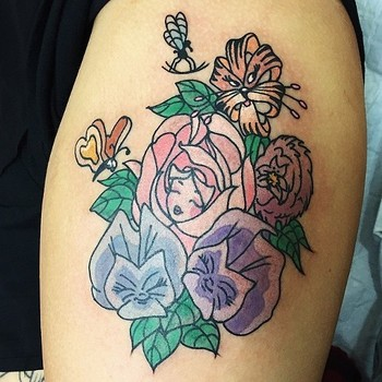 alice in wonderland flowers tattoo - Google Search