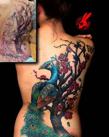 Peacock Cherry Blossom Cover Up Back Tattoo by Jackie Rabbit | Flickr - Photo Sharing!