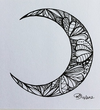 Creative trendy moon tattoo