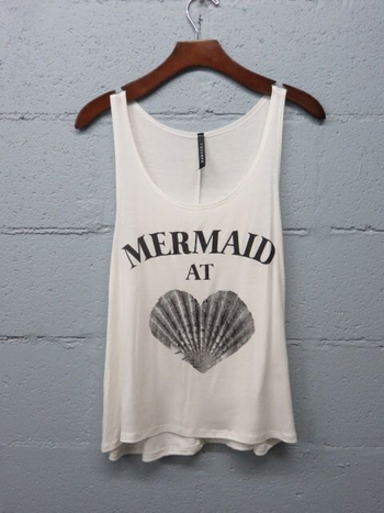 Mermaid At Heart Graphic Tank Top, Beach Tank, Boho, Mermaid Shirt by SavChicBoutique on Etsy https:/