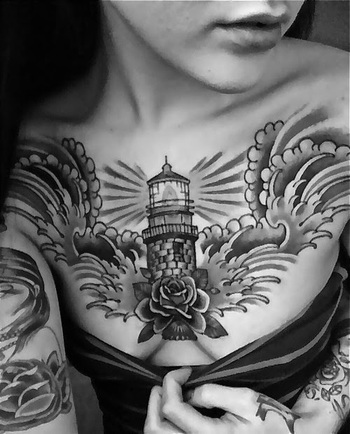 Women Chest With Lighthouse Tattoos, Lighthouse Tattoos For Women, Women Chest Decorative Lighthouse
