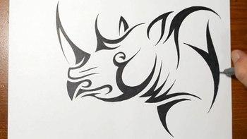 How to Draw a Rhino - Tribal Tattoo Design Style
