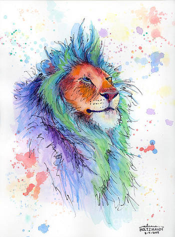 Lion watercolor.. I wonder how much detail