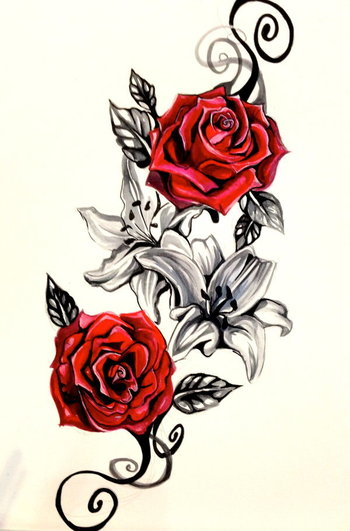 Lily and Rose Tattoo Design by Lucky978 on deviantART