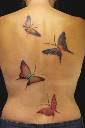 Flitting Butterfly Tattoo On The Back ~ Butterfly Tattoo Ideas #36