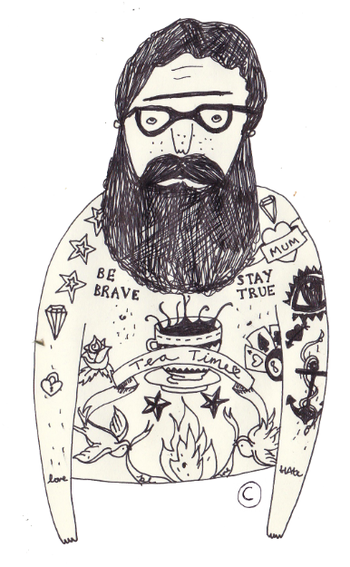 tattoo men - Ella Masters illustration