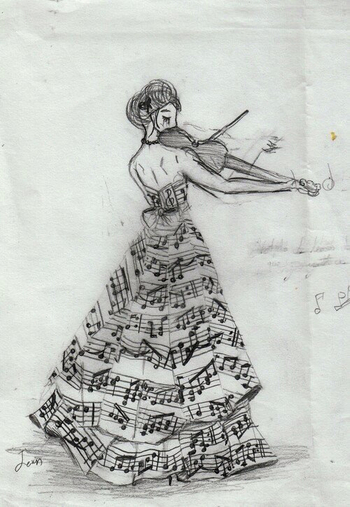 Make the dress and wrap music flowing around it. Flip her around to have violin in left arm and bend
