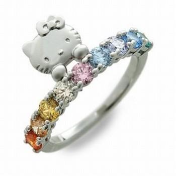 Hello Kitty Rainbow Ring Silver Swarovski Elements Japan | eBay